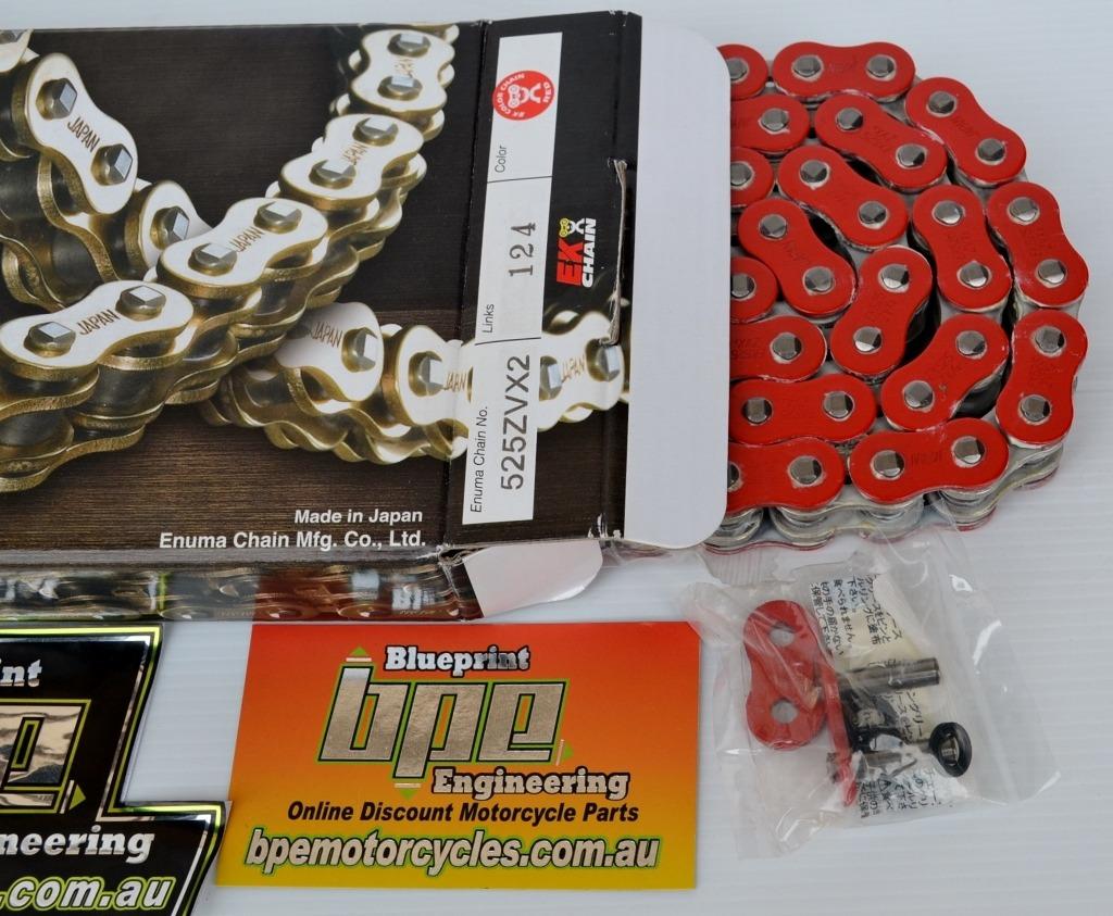 EK XRING RED 525 ZVX3 124 LINK EK ZVX3 MOTORCYCLE CHAIN