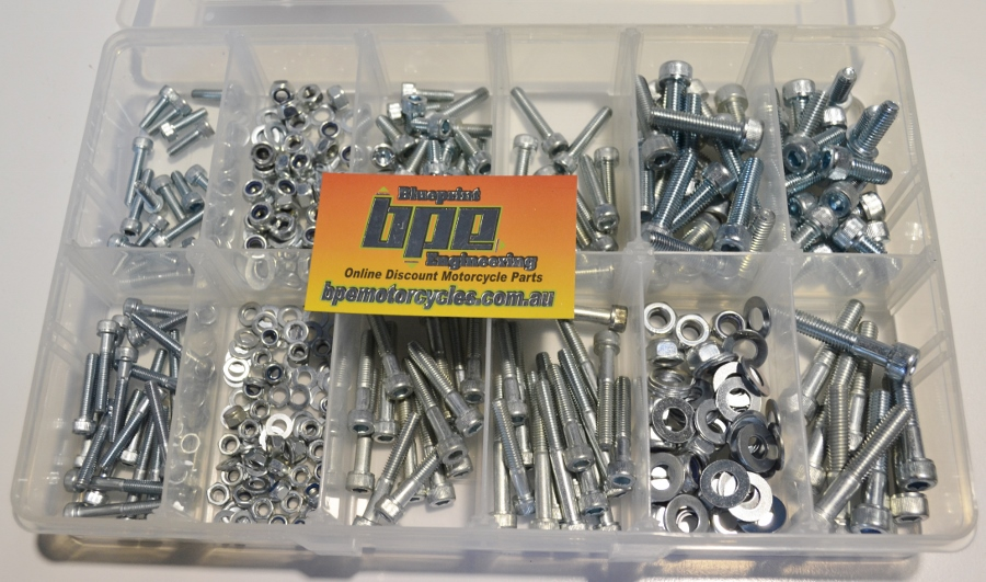 MOTORCYCLE BOLTS FITS MOST JAPANESE BIKES M5 M6 M8 METRIC NUT AND BOLTS KIT  FASTENER KIT BRIGHTON BEST QUALITY ZINC BAKED SOCKET HEAD CAP SCREWS